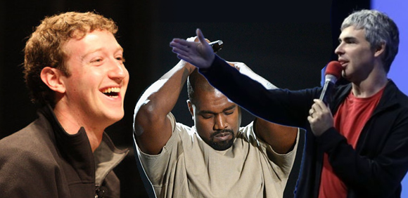 Mark Zuckerberg, Kanye West, and Larry Page