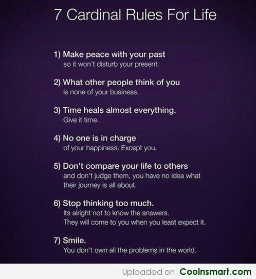 Life Quote: 7 Cardinal Rules For Life