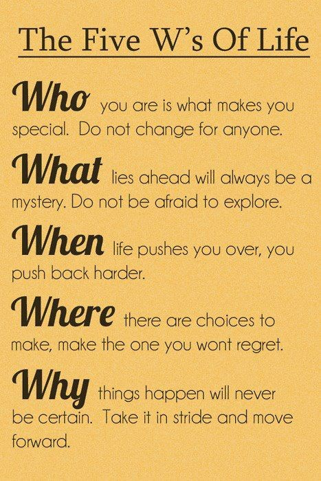 Inspirational Quote: The Five W's of Life