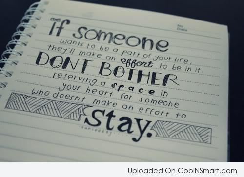Relationship Quote: If someone wants to be a part...