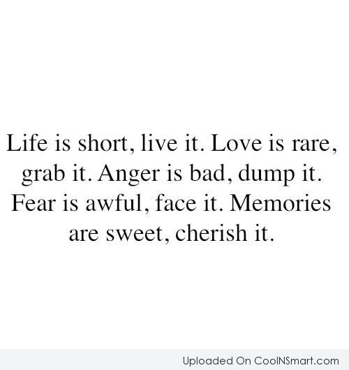 Life Quote: Life is short, live it. Love is...