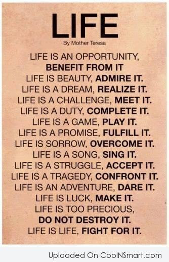 Inspirational Quote: Life is an opportunity, benefit from it....