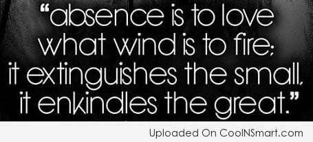 Long Distance Relationship Quote: Absence is to love what wind is...