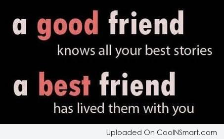 Best Friend Quote: A good friend knows all your best...