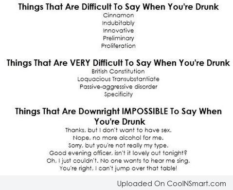 Alcohol Quote: Things that are difficult to say when...