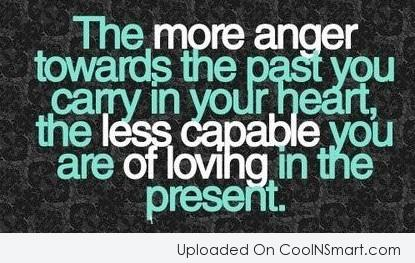 Anger Quote: The more anger towards the past you...