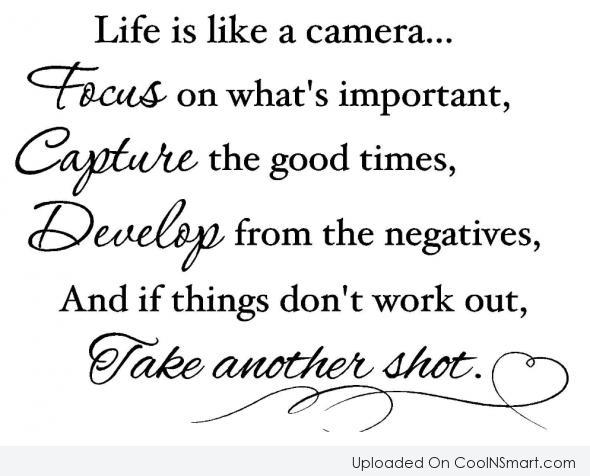 Inspirational Quote: Life is like a camera… Focus on...