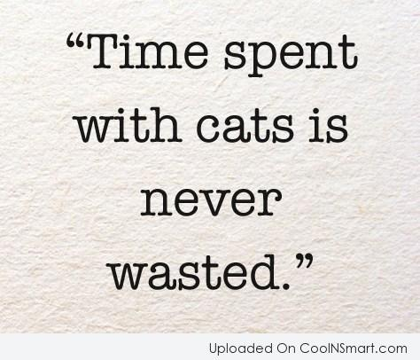 Cats Quote: Time spent with cats is never wasted.