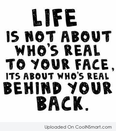 Friendship Quote: Life is not about who's real to...