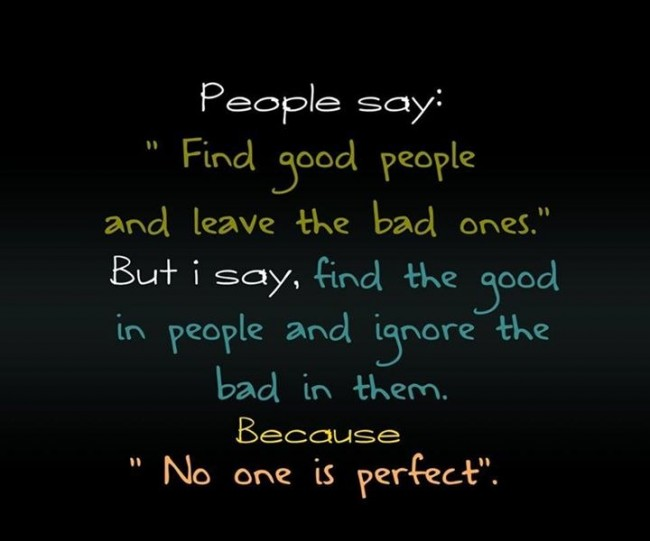"Perfection Quote: People say: ""Find good people and leave..."