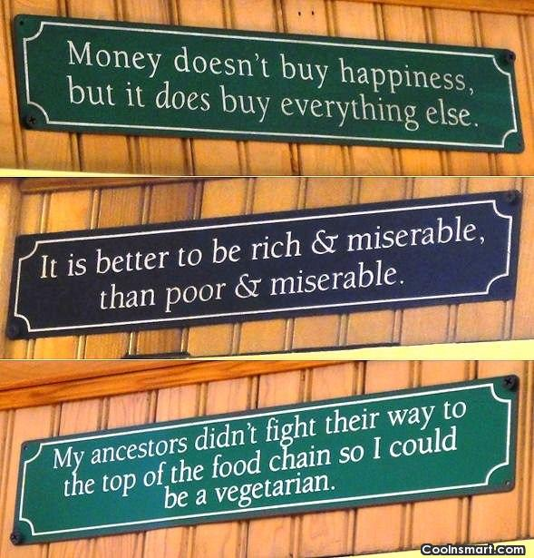 Witty Quote: Money doesn't buy happiness, but it does...