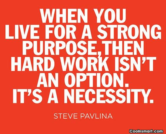 Hard Work Quote: When you live for a strong purpose,...