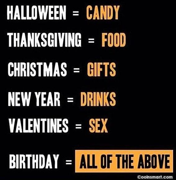 Funny Birthday Quotes Quote: Halloween = Candy Thanksgiving = Food Christmas...