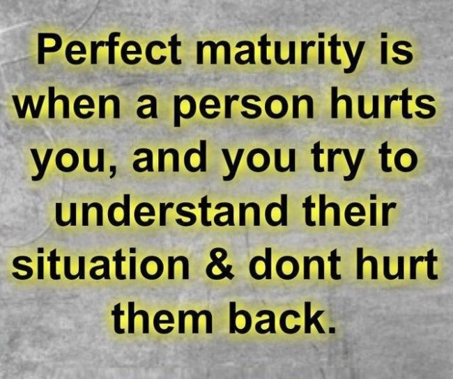 Maturity Quote: Perfect maturity is when a person hurts...