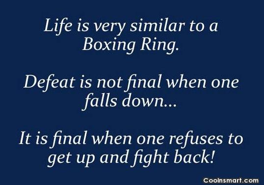 Defeat Quote: Life is very similar to a boxing...