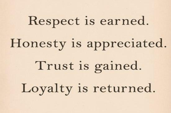 Loyalty Quote  Respect is earned  Honesty is appreciated  Trust   Quotes About Trust And Loyalty