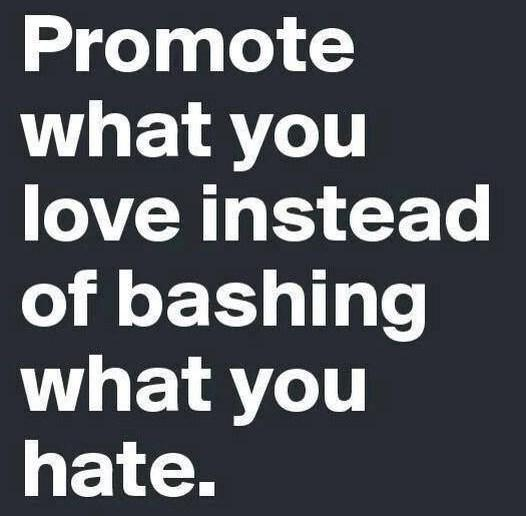 Wise Quote: Promote what you love instead of bashing...