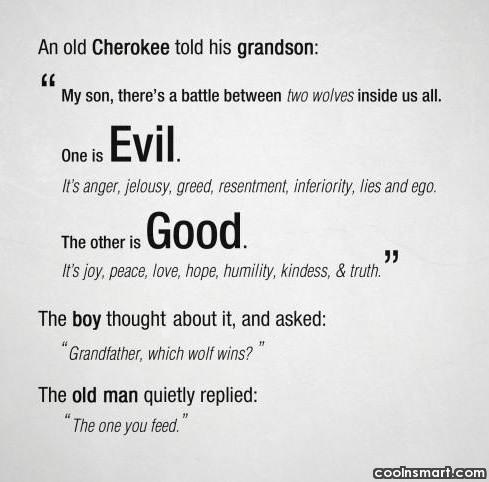 "Jealousy Quote: An old Cherokee told his grandson: ""My..."