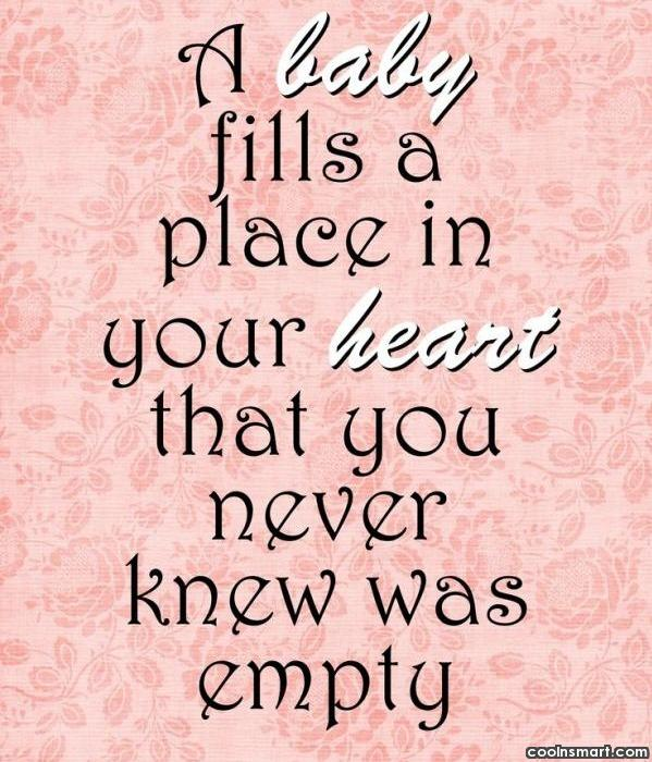 Baby Quote: A baby fills a place in your...
