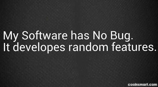 Computer Quote: My software has no bug. It develops...