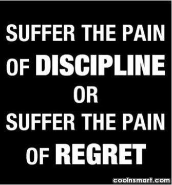 Discipline Quote: Suffer the pain of discipline or suffer...