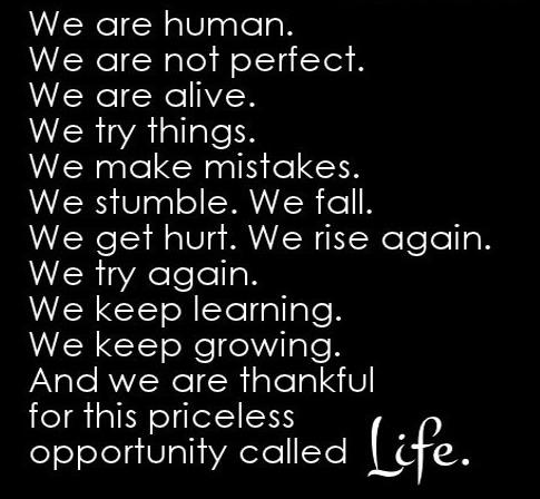 Life Quote: We are human. We are not perfect....