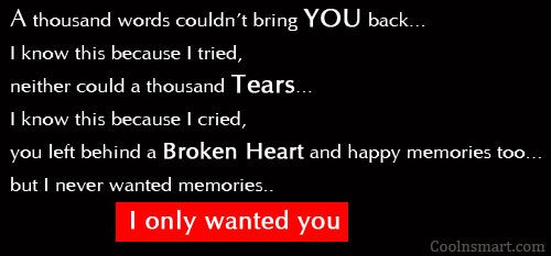 Missing You Quote: A thousand words couldn't bring you back…...