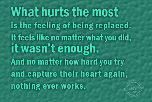 Being Forgotten Quote: What hurts the most is the feeling...