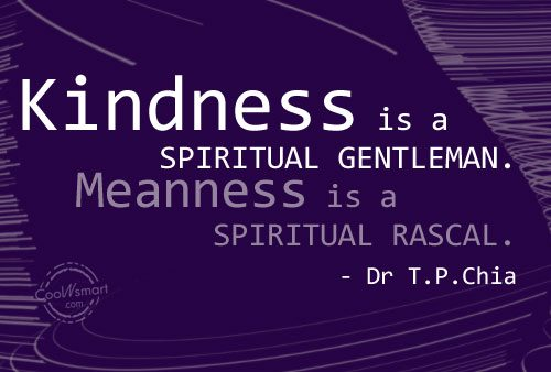 Kindness Quote: Kindness is a spiritual gentleman. Meanness is...