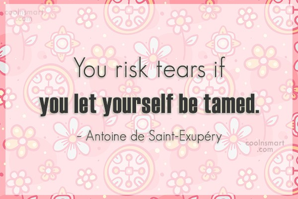 Quote: You risk tears if you let yourself...
