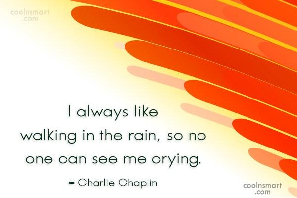 Rain Quote: I always like walking in the rain,...