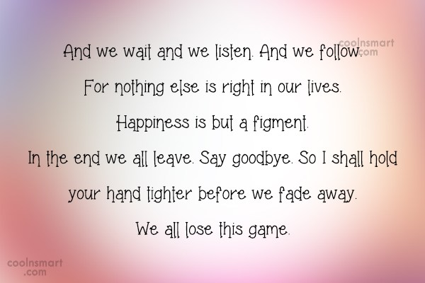 Quote: And we wait and we listen. And...
