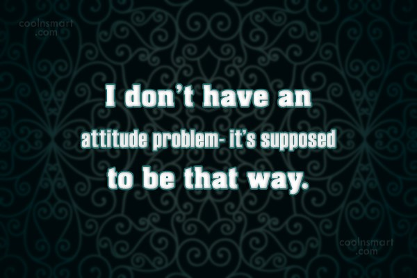 Attitude Quote: I don't have an attitude problem- it's...