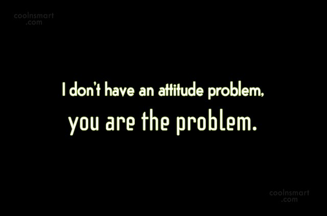 Attitude Quote: I don't have an attitude problem, you...
