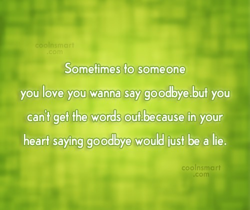 Goodbye Quote: Sometimes to someone you love you wanna...