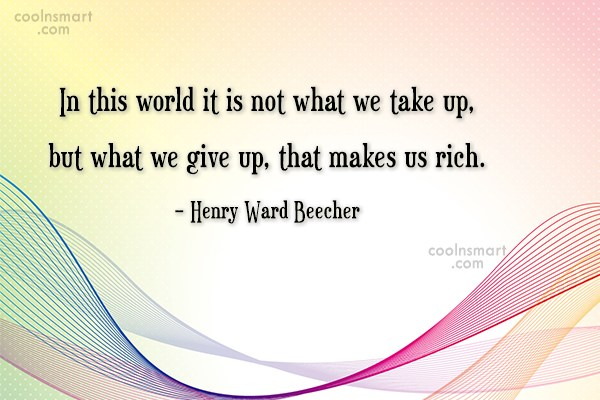 Giving Up Quote: In this world it is not what...