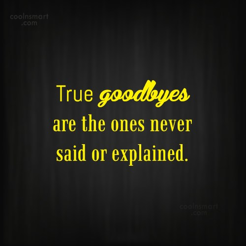 Goodbye Quote: True goodbyes are the ones never said...