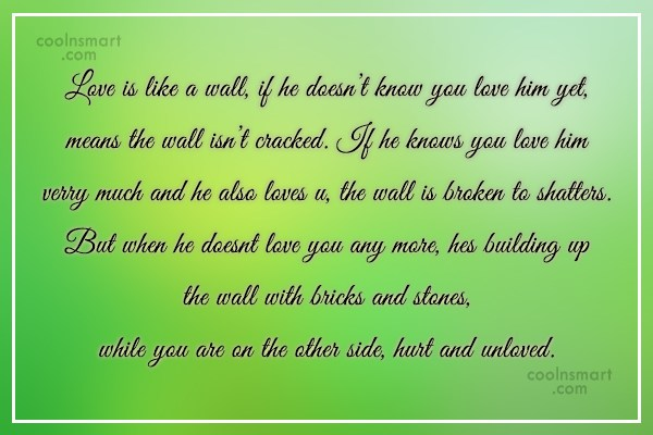Quote: Love is like a wall, if he...