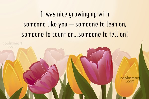 Brother Quote: It was nice growing up with someone...