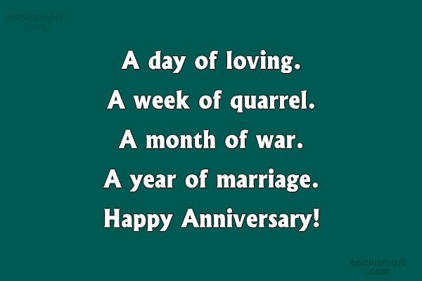 Anniversary Quote: A day of loving. A week of...