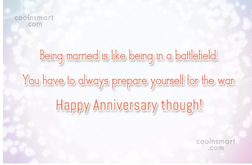 Anniversary Quote: Being married is like being in a...