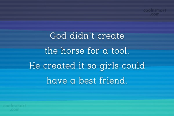 Horse Quote: God didn't create the horse for a...