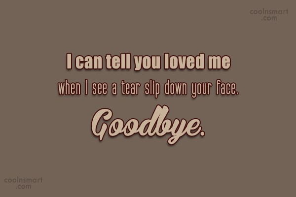 Goodbye Quote: I can tell you loved me when...