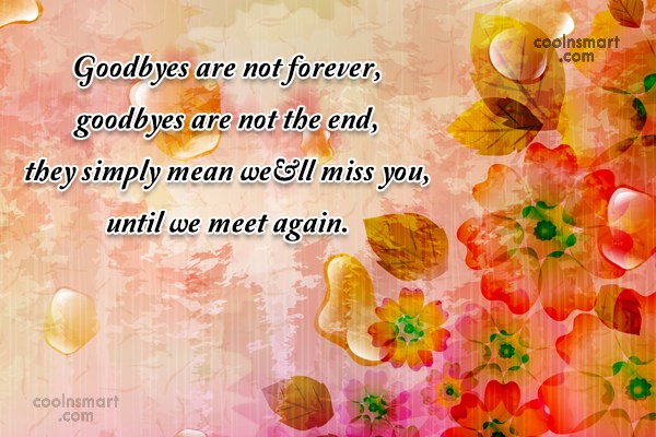Quote: Goodbyes are not forever, goodbyes are not...