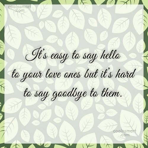 Goodbye Quote: It's easy to say hello to your...