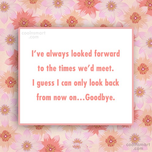 Goodbye Quote: I've always looked forward to the times...