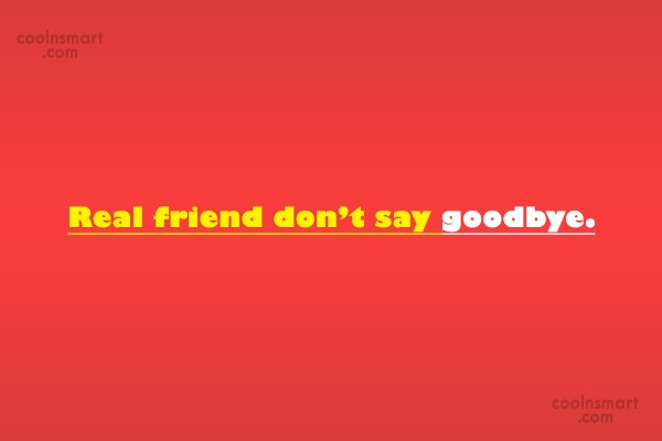 Goodbye Quote: Real friend don't say goodbye.