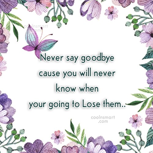 Quote: Never say goodbye cause you will never...