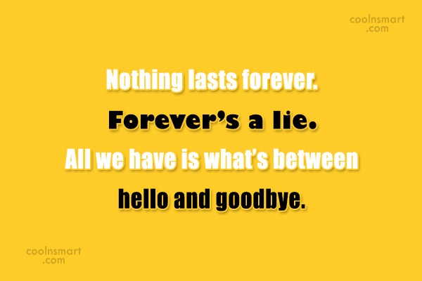Goodbye Quote: Nothing lasts forever. Forever's a lie. All...