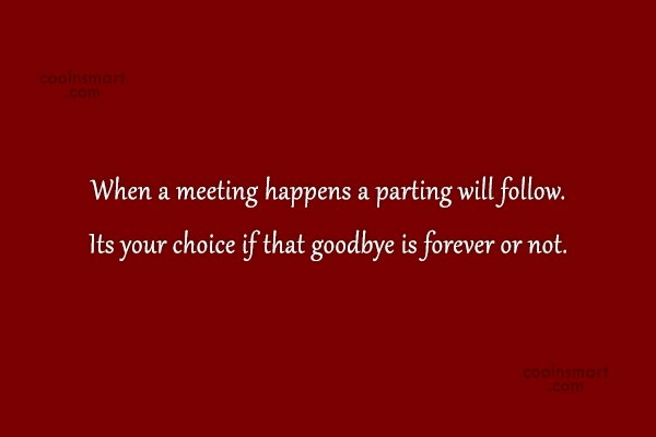 Goodbye Quote: When a meeting happens a parting will...